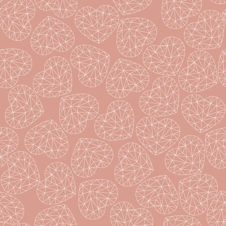 Cute gentle seamless pattern. White hearts on a coral background. Hearts are made up of triangular fragments. Low poly style.
