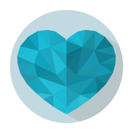 Blue heart in style low-poly on a light blue background in white round frame. Cold heart Banque d'images - 138549050
