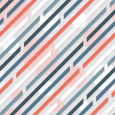 Seamless pattern. Diagonal lines with spaces.Circles on background. Cold colors. Gray, blue, white. Ilustración de vector