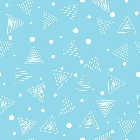 Geometric pattern. Chaotic. Triangles and different size points. Seamless background. Light blue and white. Çizim