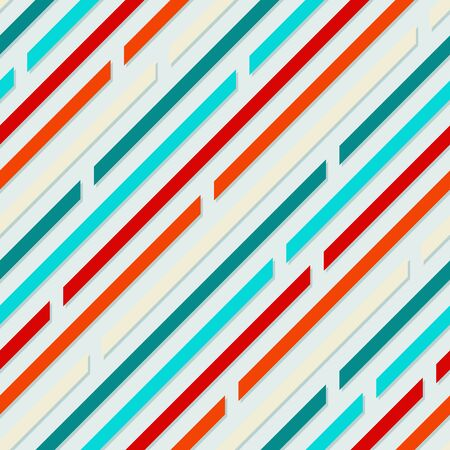 Simple contrast background of diagonal lines. Seamless pattern. Bright, juicy, colors. Package, wrapping design. Red, orange, blue, aquamarine