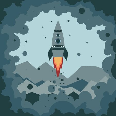Cute cartoon rocket starts from the surface of the distant planets in clouds of smoke and blue dust. Small turquoise rocket with two round portholes. Blue stranger mountains in the background