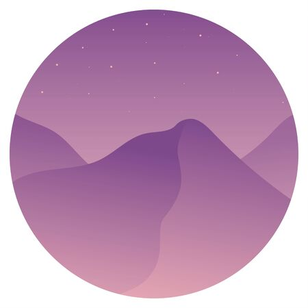 Desert in the morning. Dunes.  Flat stylish landscape with a round frame. Starry sky. Pink and purple colors