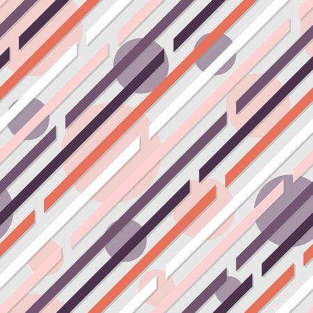 Seamless pattern. Diagonal lines with spaces.Circles on background. Gray, Pink, coral and purple. Gentle, calm colors