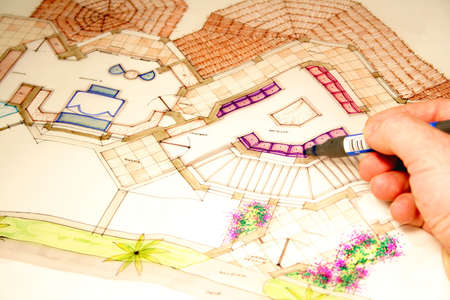 colored architectural plans for home and landscaping Banco de Imagens