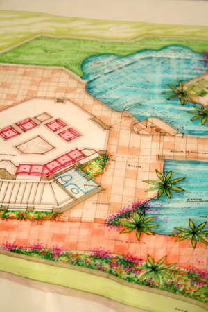 colored architectural plans for home and landscaping Stock Photo