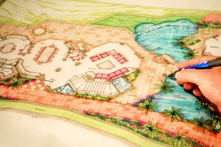 landscaping: colored architectural plans for home and landscaping Stock Photo