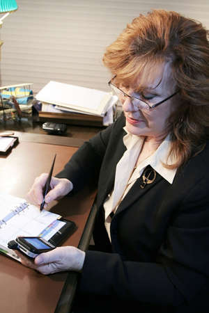 Executive Woman transferring notes from PDA Stock Photo - 2464198