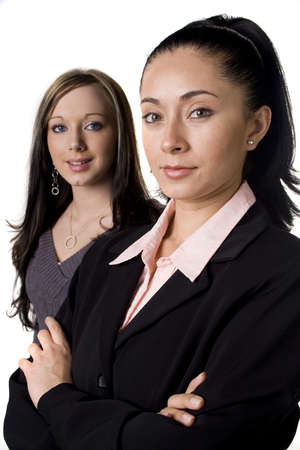 entrepeneur: Two professional woman isolated on white Stock Photo