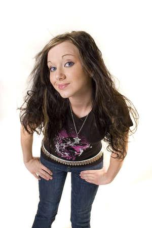 rocker girl: Muchacha joven bonita del eje de balanc�n con el pelo muy rizado Foto de archivo