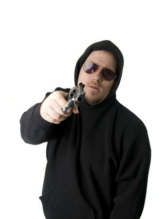 Criminal or Gangster with revolver and dark glasses Stock Photo - 2770976