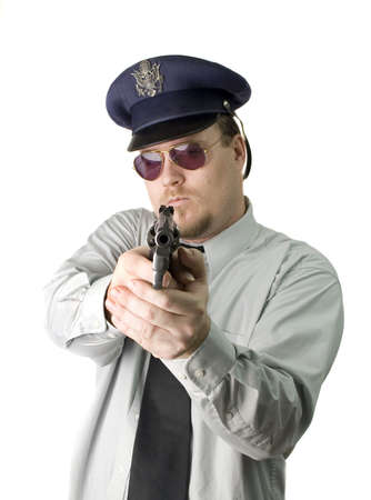 swat teams: Police Officer with dark glasses and revolver