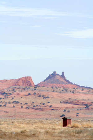 Colorful red rock outcropping in monument valley arizona photo