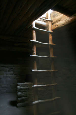kiva: Old wooden ladder for entrance to a kiva in mesa verde national park in colorado