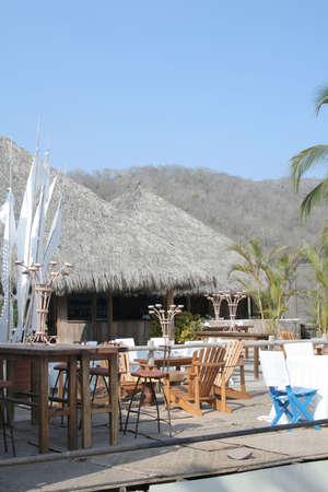 cabana: Beach cabana restaurant with nice tropical setting Stock Photo