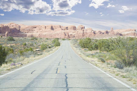 spires: road through arches area mountains and spires in Utah USA