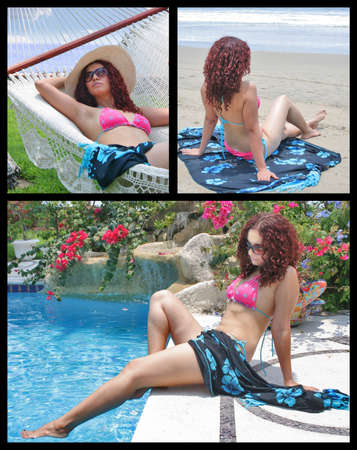 Tropical vacation theme, a collage of photos of a woman on vacation photo