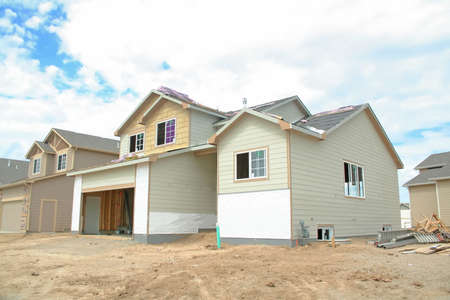 site: A new home under construction exterior view Stock Photo