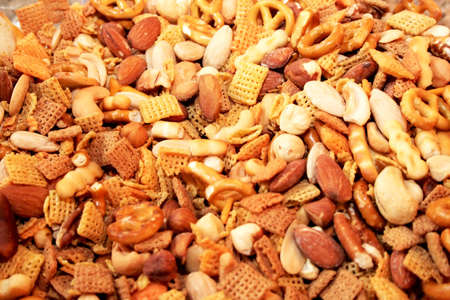 Chex mix appetizer food background and texture