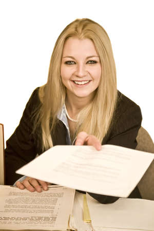 young business woman handing over paperwork