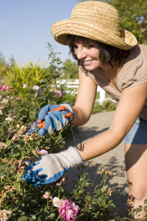 Beautiful young woman in the yard gardening photo