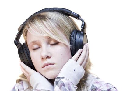 Young Teen Fille écoutant De La Musique Sur Son Casque Banque D