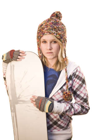 Young teen girl with snowboard Isolated on white photo
