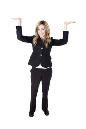 Young business woman holding her hands above her head supporting an object photo