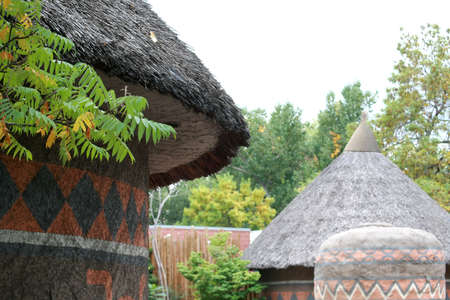 African style thatched roof dwellings Stock Photo