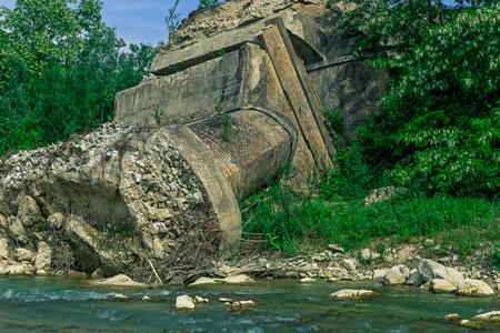 collapsed: old bridge collapsed Stock Photo