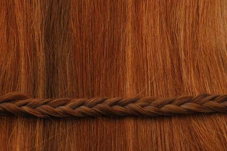 Hair with horizontal braid. photo