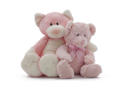 Two stuffed bears illustrating the concept of friendship isolated on a white background.