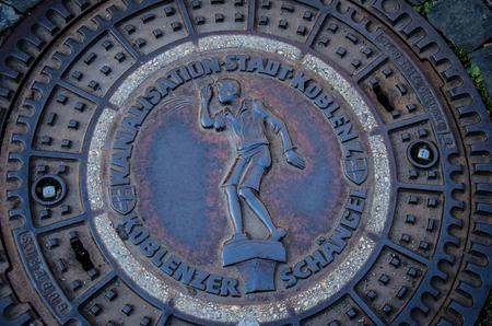 Koblenz, Germany - August 14 2017: Manhole cover in Koblenz