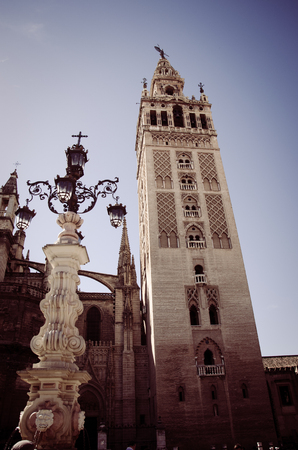 The Giralda, or the bell tower of the Cathedral of Seville. Vintage look