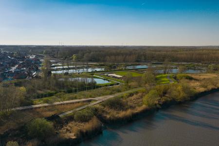 Zone inondable de Vlassenbroek à côté de l'Escaut, à Baasrode, Belgique Banque d'images