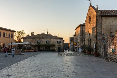 Monteriggioni, Italy - Piazza Roma (Roma Square) and the Church of Saint Mary Editorial