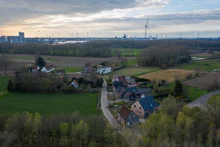 Aerial view over Mendonk, a village in East Flanders, Belgium
