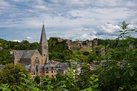 View over the Saint Nicholas Church and the Castle in La Roche-en-Ardenne, Belgium Reklamní fotografie
