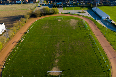 Various markings on a football field, in rural East Flanders; aerial view Фото со стока