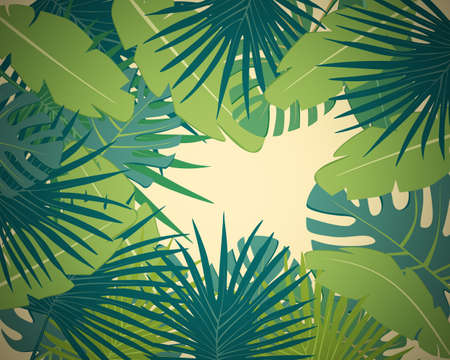 greenery: Abstract digital background with colorful palm leaves greenery on yellow backdrop witn vignetting