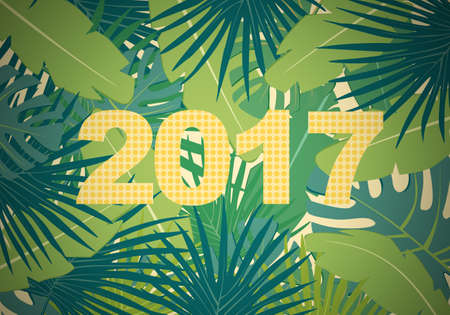 greenery: Abstract flat background with colorful palm leaves greenery and new 2017 year yellow dots inscription in vignetting