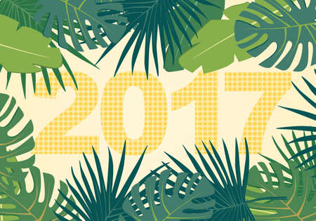 greenery: Abstract background with colorful palm leaves greenery and new 2017 year dots inscription