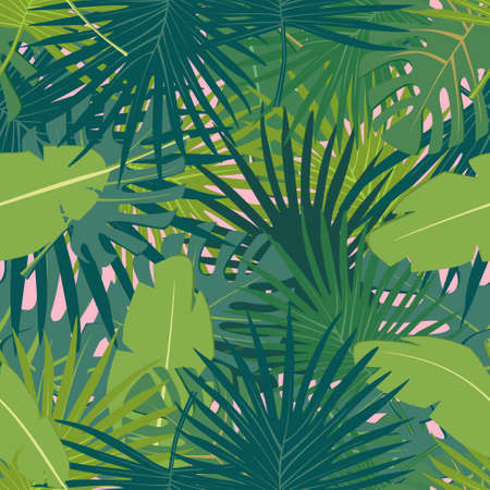 Abstract digital seamless pattern flat background with colorful palm leaves greenery on pink backdrop