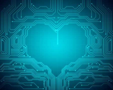 デジタル ハート記号グリッド上の青色の背景イメージ