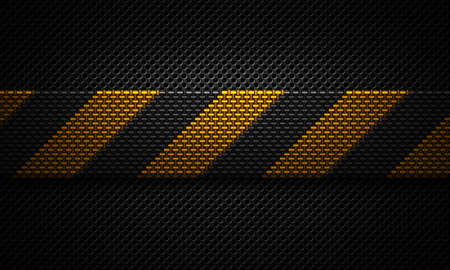 dark fiber: Abstract modern black perforated plate textured material design with warning tape of yellow carbon fiber in center for background, wallpaper, graphic design