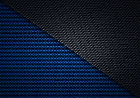 Abstract modern blue black carbon fiber textured material design for background, wallpaper, graphic design Stock Photo