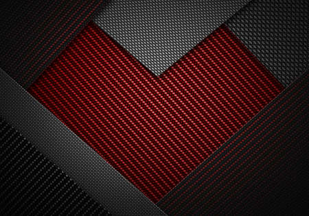 Abstract modern red black carbon fiber textured material design in heart shape for background, wallpaper, graphic design, gift card on Valentines Day Stock Photo