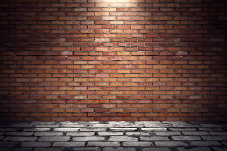 blanked: Empty old grungy room with red brick wall and paving stone floor. 3d rendering illustration of underground showroom