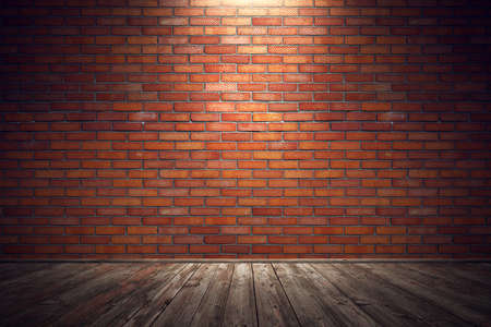 blanked: Empty old grungy room with red brick wall and wooden floor. 3d rendering illustration