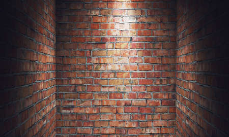 blanked: Empty grungy room with red brick wall dead end and spotlight. 3d rendering illustration